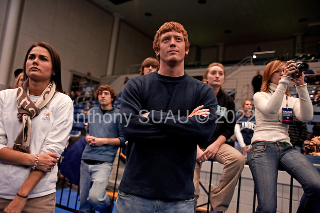 Greenwood, South Carolina.January 22, 2008 ..Lander University students listen to Presidential hopeful Sen. Barack Obama (D-IL) as he holds a campaign rally. Obama is campaigning through the state ahead of its Democratic primary on January 26..
