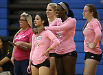 From left, Kelsey Sanna, Courtney Phung, Johanna Hummel, Morgan McAlpin and Erin Williams watch the action in a college volleyball match against Shenandoah at Marymount University in Arlington, Vir., on Tuesday, Oct. 8, 2013.<br /> Photo by Cathleen Allison
