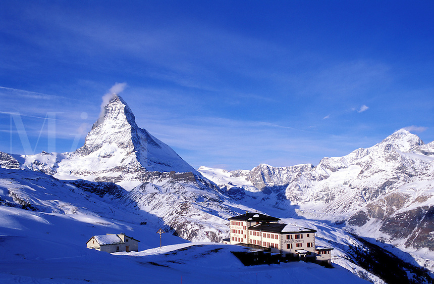 Switzerland,Zermatt, the Matterhorn. Hotel located in the mountains with the Matterhorn in the background
