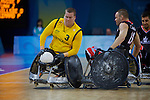 Ryley Batt shows why he's invaluable as Australia defeats Canada in the Wheelchair Rugby semi final at the USTB Gymnasium at the Paralympic games, Beijing, China 15th September 2008