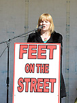 Catherine Cox of the Carers Association speaking at the 'Feet on the Street' protest. Photo:Colin Bell/pressphotos.ie
