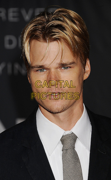 Brendan Miller.The Regency Enterprises L.A. Premiere of 'In Time' held at The Regency Village Theatre in Westwood, California, USA..October 20th, 2011.headshot portrait white stubble facial hair black grey gray tie .CAP/ROT/TM.© TM/Roth/Capital Pictures