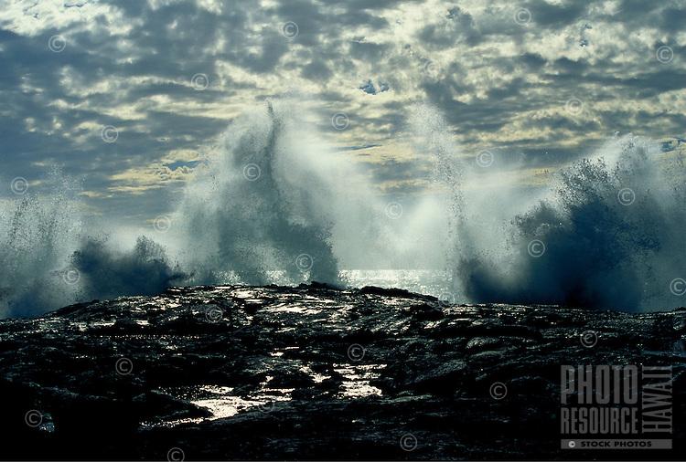 Wave crashing at Kaupulehu, Big Island