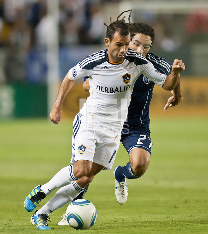 CARSON, CA – May 14, 2011: LA Galaxy midfielder Juninho (19) during the match between LA Galaxy and Sporting Kansas City at the Home Depot Center in Carson, California. Final score LA Galaxy 4, Sporting Kansas City 1.