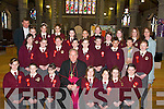 Boys and Girls from Moyderwell Mercy Primary School who received their Confirmation from Bishop Bill Murphy in St Johns Church, Tralee, on Friday. Front row l-r: Grace Stack, David Barrett Duggan, Kayleigh Power, Alison OSullivan, Rosa Karim, Nicole Moriarty and Ann Marie Knipper. Middle row l-r: Niamh Comerford, Shauna Moriarty, Ciara Powell, Nadia Khenchelaoui, Aine Brennan, Neil Finnegan, Skirmantas Lelys, Eillen Doyle (Teacher) and Deirdre Kearney. Back row l-r: Fr Kieran OBrien, Charlotte Higgins, Ellen McDonagh, Lorraine Truslove, Elise OConnell, Gabrielle Browne, Michaela Heaslip, Triona Clerkin, Orla Finucane, Ellie Scanlon and Moira Quinlan (Principal)..