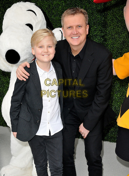 Lucas Jones &amp; Aled Jones attend the &quot;Snoopy &amp; Charlie Brown: The Peanuts Movie 3D&quot; gala film screening, Vue West End cinema, Leicester Square, London, England, UK, on Saturday 28 November 2015.<br /> CAP/CAN<br /> &copy;Can Nguyen/Capital Pictures