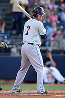 Binghamton Mets Outfielder Sean Ratliff (7) during a game vs. the Akron Aeros at Eastwood Field in Akron, Ohio;  June 25, 2010.   Binghamton defeated Akron 5-3.  Photo By Mike Janes/Four Seam Images