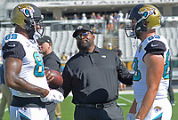 Jacksonville Jaguars tight ends coach Ron Middleton with Marcedes Lewis (89) and Ben Koyack (83) during pregame warm-ups against the Los Angeles Rams in a NFL game Sunday, October 15, 2017 in Jacksonville, Fl.  (Rick Wilson/Jacksonville Jaguars)
