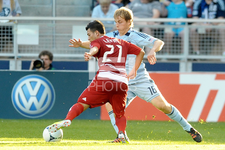 Bryan Leyva (21) FC Dallas midfieder faces up against Sporting KC defender Seth Sinovic... Sporting KC defeated FC Dallas 2-1 at LIVESTRONG Sporting Park, Kansas City, Kansas.