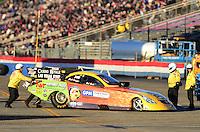 Nov. 10, 2012; Pomona, CA, USA: NHRA funny car driver Bob Bode during qualifying for the Auto Club Finals at at Auto Club Raceway at Pomona. Mandatory Credit: Mark J. Rebilas-