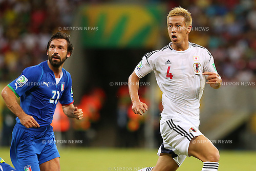 (L to R) Andrea Pirlo (ITA), Keisuke Honda (JPN), <br /> June 19, 2013 - Football / Soccer : <br /> FIFA Confederations Cup Brazil 2013, Group A <br /> match between Italy 4-3 Japan <br /> at Arena Pernambuco, Recife, Brazil. <br /> (Photo by Daiju Kitamura/AFLO SPORT)