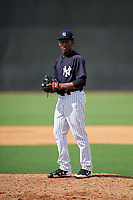 New York Yankees pitcher Roansy Contreras (29) gets ready to deliver a pitch during a Florida Instructional League game against the Philadelphia Phillies on October 11, 2018 at Yankee Complex in Tampa, Florida.  (Mike Janes/Four Seam Images)