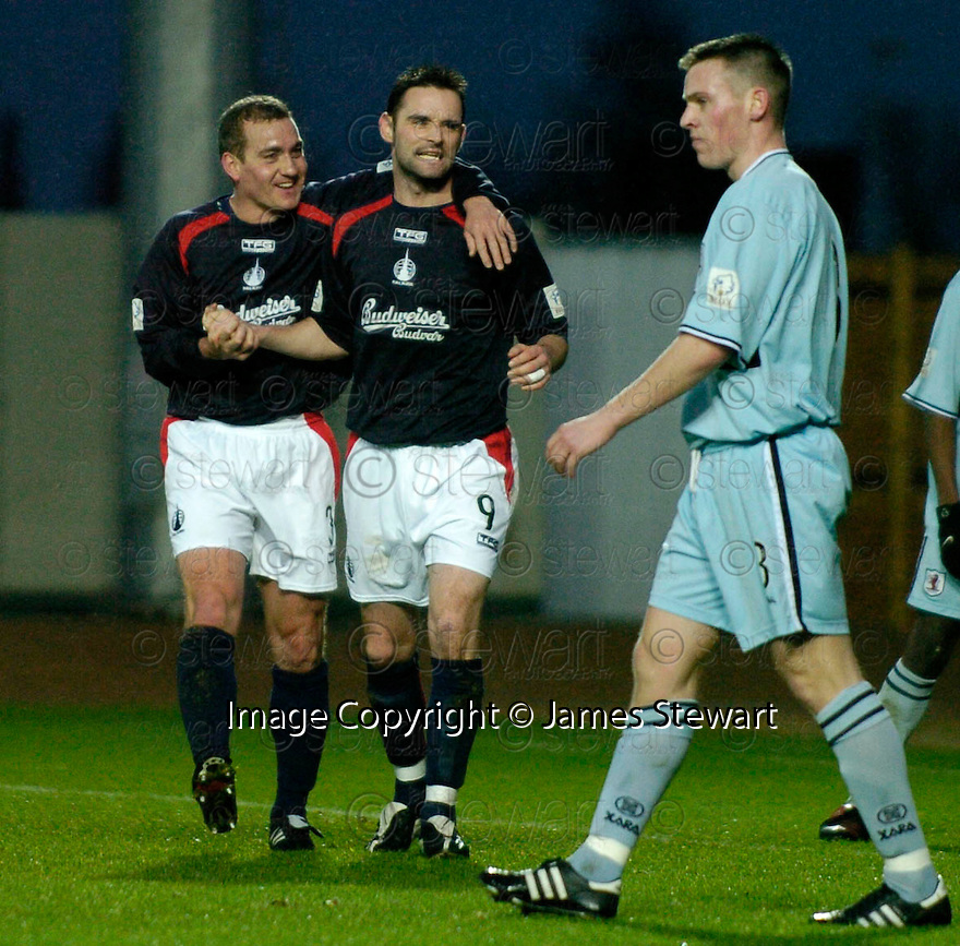 01/01/2005  Copyright Pic : James Stewart.File Name : jspa04_falkirk_v_raith-rovers.ANDY THOMSON IS CONGRATULATED BY CRAIG MCPHERSON AFTER HE SCORES FALKIRK'S SECOND...Payments to :.James Stewart Photo Agency 19 Carronlea Drive, Falkirk. FK2 8DN      Vat Reg No. 607 6932 25.Office     : +44 (0)1324 570906     .Mobile   : +44 (0)7721 416997.Fax         : +44 (0)1324 570906.E-mail  :  jim@jspa.co.uk.If you require further information then contact Jim Stewart on any of the numbers above.........