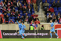 HARRISON, NJ - FEBRUARY 26: Alexander Callens #6 of NYCFC celebrates scoring during a game between AD San Carlos and NYCFC at Red Bull on February 26, 2020 in Harrison, New Jersey.