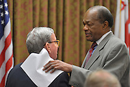 February 25, 2013  (Washington, DC)  D.C. Council member Marion Barry Jr. speaks with Councilman Jim Graham before Graham was reprimanded by the Council.  (Photo by Don Baxter/Media Images International)