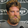 Ryan Fitzpatrick #14, New York Jets quarterback, speaks with the media after a day of team training camp at Atlantic Health Jets Training Center in Florham Park, NJ on Saturday, July 30, 2016.