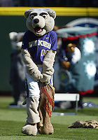 04 October 2009: Washington Huskies mascot Harry took part in the pre game mascot races. Seattle won 4-3 over the Texas Rangers at Safeco Field in Seattle, Washington.