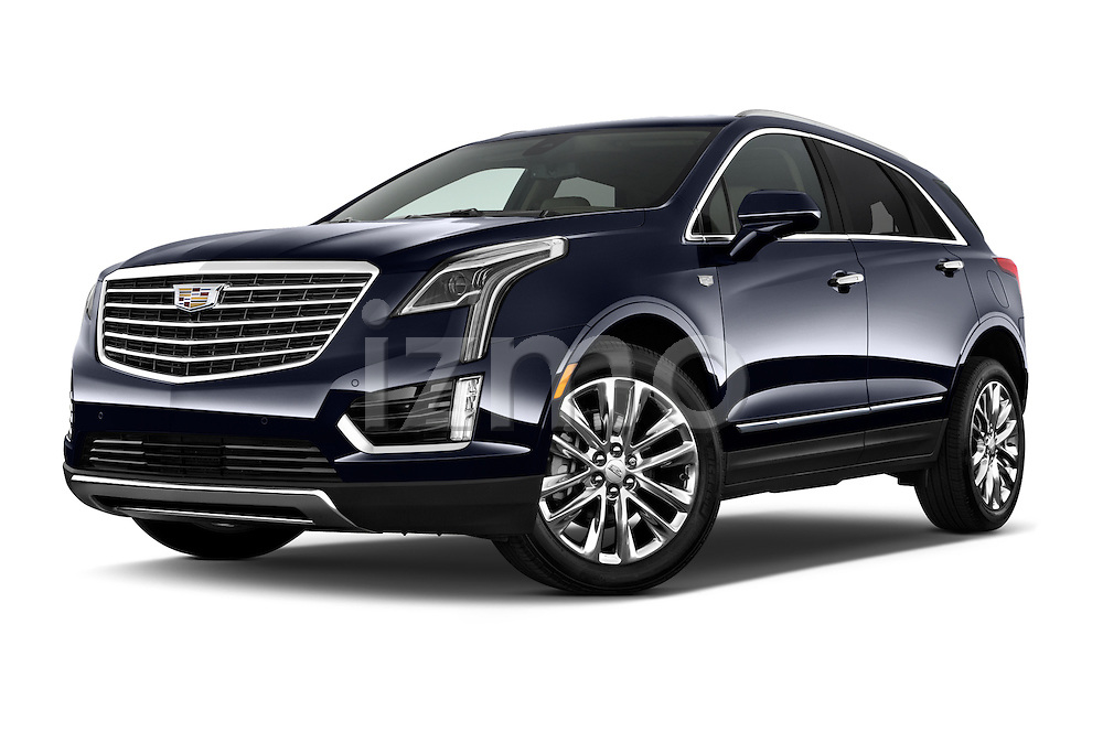 Stock pictures of low aggressive front three quarter view of 2017 Cadillac XT5 AWD-Platinum 5 Door SUV Low Aggressive