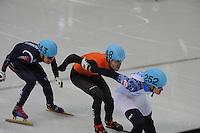 OLYMPICS: SOCHI: Iceberg Skating Palace, 15-02-2014, Short Track, Men's 1000m, Finals, Vladimir Grigorev (#252 | RUS), Sjinkie Knegt (#248 | NED), Da Woon Sin (#243 | KOR), ©photo Martin de Jong