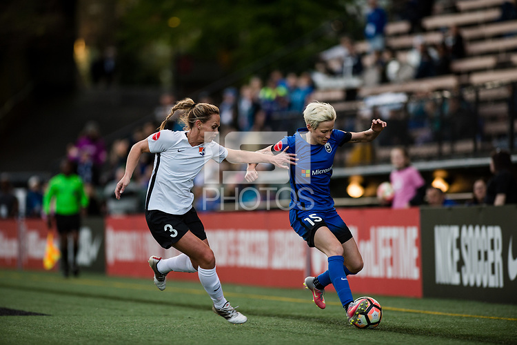 Seattle, WA - April 15th, 2017: Christie Pearce , Megan Rapinoe during a regular season National Women's Soccer League (NWSL) match between the Seattle Reign FC and Sky Blue FC at Memorial Stadium.