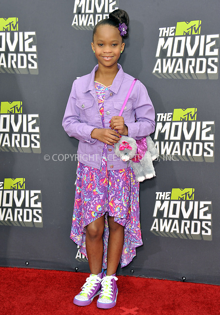 WWW.ACEPIXS.COM....April 14, 2013, Los Angeles, Ca.......Quvenzhane Wallis arriving at the 2013 MTV Movie Awards at Sony Pictures Studios on April 14, 2013 in Culver City, California.......By Line: Peter West/ACE Pictures....ACE Pictures, Inc..Tel: 646 769 0430..Email: info@acepixs.com