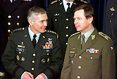 United States Army General Wesley Clark, Supreme Allied Commander - Europe (SACEUR) talking with Chief of Defence, Czech Republic Lieutenant General Jiri Sedivy in Brussels, Belgium on March 10, 1999.  .Credit: NATO via CNP...