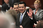 Governor Brian Sandoval waves to the crowd following Monday's State of the State address, Jan. 24, 2011, at the Legislature in Carson City, Nev. .Photo by Cathleen Allison