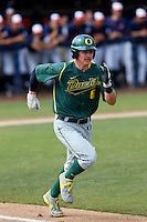 Scott Heineman #6 of the Oregon Ducks runs to first base during a baseball game against the Cal State Fullerton Titans at Goodwin Field on March 3, 2013 in Fullerton, California. (Larry Goren/Four Seam Images)