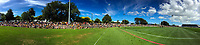 A panoramic view of the crowd at the Super Rugby preseason match between the Hurricanes and Crusaders at Levin Domain in Levin, New Zealand on Saturday, 2 February 2019. Photo: Dave Lintott / lintottphoto.co.nz