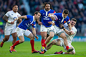 10th February 2019, Twickenham Stadium, London, England; Guinness Six Nations Rugby, England versus France; Tom Curry of England tackles Thomas Ramos of France