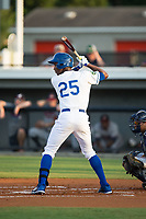 Seuly Matias (25) of the Burlington Royals at bat against the Danville Braves at Burlington Athletic Stadium on August 14, 2017 in Burlington, North Carolina.  The Royals defeated the Braves 9-8 in 10 innings.  (Brian Westerholt/Four Seam Images)