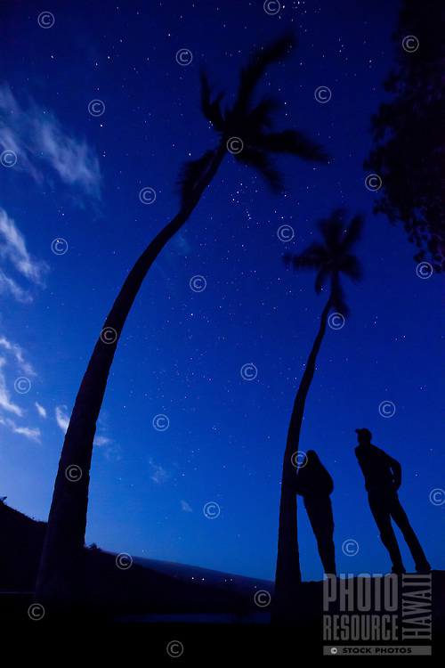 A couple gazing up at the stars at Hookena Bay near silhouetted palm trees, Big Island