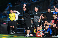Seattle, WA - Sunday, May 1, 2016: Seattle Reign FC head coach Laura Harvey directs her team during the second half of a National Women's Soccer League (NWSL) match at Memorial Stadium. Seattle won 1-0.