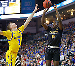 SIOUX FALLS, SD - MARCH 7: IPFW Mastodons guard Deonte Billups #15 goes up for a shot against South Dakota State Jackrabbits guard Baylor Scheierman #3 at the 2020 Summit League Basketball Championship in Sioux Falls, SD. (Photo by Richard Carlson/Inertia)