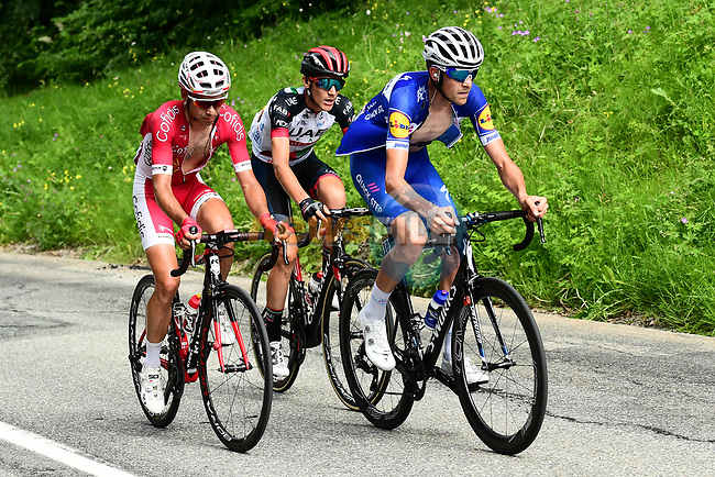 The breakaway group with Laurens De Plus (BEL) Quick-Step Floors, Nicolas Edet (FRA) Cofidis and Edward Ravasi (ITA) UAE-Team Emirates during Stage 5 of the 2018 Criterium du Dauphine 2018 running 130km from Grenoble to Valmorel, France. 8th June 2018.<br /> Picture: ASO/Alex Broadway | Cyclefile<br /> <br /> <br /> All photos usage must carry mandatory copyright credit (© Cyclefile | ASO/Alex Broadway)