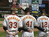April 10, 2004:  Justin Moreau (33), Michael Restovich (41), and Terry Tiffee (12) of the Rochester Red Wings, Triple-A International League affiliate of the Minnesota Twins, before a game at Frontier Field in Rochester, NY.  Photo by:  Mike Janes/Four Seam Images