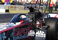 Feb 6, 2015; Pomona, CA, USA; NHRA top fuel driver Steve Torrence during qualifying for the Winternationals at Auto Club Raceway at Pomona. Mandatory Credit: Mark J. Rebilas-