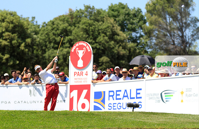 Miguel Angel Jimenez (ESP) on the 16th tee during Round 4 of the Open de Espana  in Club de Golf el Prat, Barcelona on Sunday 17th May 2015.<br /> Picture:  Thos Caffrey / www.golffile.ie
