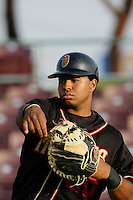 May 28 2009: Wilin Rosario of the Modesto Nuts before game against the Inland Empire 66'ers at Arrowhead Credit Union Park in San Bernardino,CA.  Photo by Larry Goren/Four Seam Images
