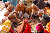 pilrim offer food to god at ganga river at Kumbh Mela Haridwar India