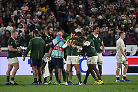 1st November 2019, Yokohama, Japan;  Players of South Africa celebrate after hearing the final whistle during the 2019 Rugby World Cup Final match between England and South Africa at the International Stadium Yokohama in Yokohama, Kanagawa, Japan on November 2, 2019.