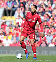 Liverpool's Virgil van Dijk<br /> <br /> Photographer Rich Linley/CameraSport<br /> <br /> The Premier League - Liverpool v Wolverhampton Wanderers - Sunday 12th May 2019 - Anfield - Liverpool<br /> <br /> World Copyright &copy; 2019 CameraSport. All rights reserved. 43 Linden Ave. Countesthorpe. Leicester. England. LE8 5PG - Tel: +44 (0) 116 277 4147 - admin@camerasport.com - www.camerasport.com