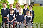 Louise Foley, Allyn O'Shea, Kerry O'Shea, Sean Buckley, Dylan O'Connor, Kyle Benson and Keelan Kelliher, Fybough National School, Castlemaine pictured with their teacher Angela Prendergast enjoying their first days at the school on Friday...................................................................................................