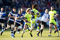 Marland Yarde of Sale Sharks in possession. Aviva Premiership match, between Bath Rugby and Sale Sharks on February 24, 2018 at the Recreation Ground in Bath, England. Photo by: Patrick Khachfe / Onside Images