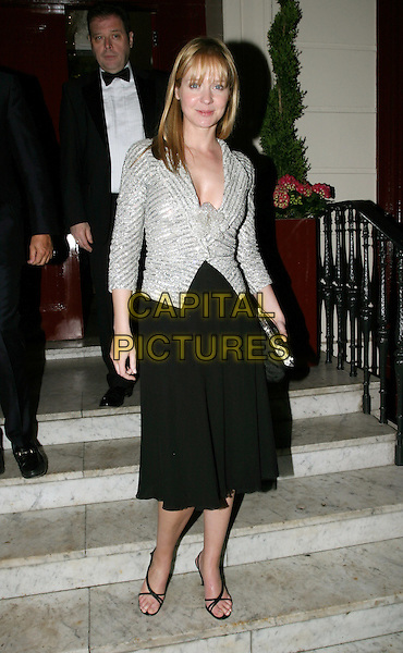 KATE REARDON.Cancer Research UK Fundraising Dinner, Morton's, Berkeley Square.April 21st, 2004.full length, full-length, silver top.www.capitalpictures.com.sales@capitalpictures.com.© Capital Pictures.