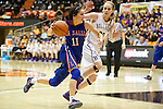 Mar 11, 2015; Portland, OR, USA;  La Salle Prep guard Aleah Goodman (110 drives to the basket against the Hermiston Bulldogs in the 5A Girls Basketball State Championship at Gill Coliseum.<br /> Photo by Jaime Valdez
