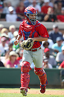 Philadelphia Phillies Tuffy Gosewisch #77 during a spring training game against the Baltimore Orioles at Bright House Field in Clearwater, Florida;  March 6, 2011.  Photo By Mike Janes/Four Seam Images