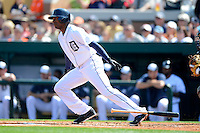 Detroit Tigers outfielder Austin Jackson #14 during a Spring Training game against the Atlanta Braves at Joker Marchant Stadium on February 27, 2013 in Lakeland, Florida.  Atlanta defeated Detroit 5-3.  (Mike Janes/Four Seam Images)