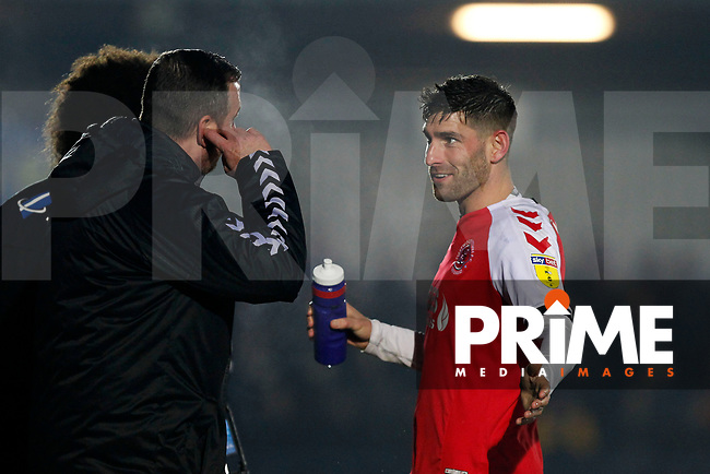 Ched Evans of Fleetwood Town discussing the game with management during the Sky Bet League 1 match between AFC Wimbledon and Fleetwood Town at the Cherry Red Records Stadium, Kingston, England on 22 January 2019. Photo by Carlton Myrie / PRiME Media Images.