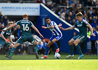 Wigan Athletic's Shaun MacDonald &amp; Max Power  battles with a Brighton &amp; Hove Albion's Anthony Knockaert (C)<br /> <br /> Brighton 2 - 1 Wigan<br /> <br /> Photographer David Horton/CameraSport<br /> <br /> The EFL Sky Bet Championship - Brighton &amp; Hove Albion v Wigan Athletic - Monday 17th April 2017 - American Express Community Stadium - Brighton<br /> <br /> World Copyright &copy; 2017 CameraSport. All rights reserved. 43 Linden Ave. Countesthorpe. Leicester. England. LE8 5PG - Tel: +44 (0) 116 277 4147 - admin@camerasport.com - www.camerasport.com